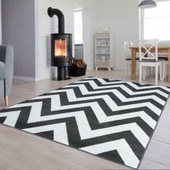 Luxury Teppich Kurzflor Weiß Dunkelgrau Modern Design Zig Zag
