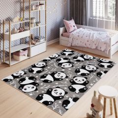 PINKY Area Rug Children Room Bedroom Play Mat Panda Grey