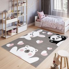 PINKY Area Rug Children Room Play Mat Bear Panda Rabbit Grey