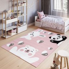 PINKY Area Rug Children Room Play Mat Bear Panda Rabbit Pink