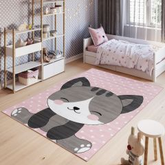 PINKY Area Rug Children Room Bedroom Play Mat Cat Pink
