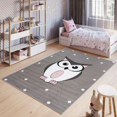 Pinky Teppich Kurzflor Grau Weiß Modern Eule Kinderzimmer