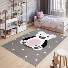 PINKY Area Rug Children Room Bedroom Bear Play Mat Grey