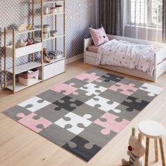 PINKY Tapis Moderne Géométrique Puzzle Rose Gris Blanc Jeu Doux