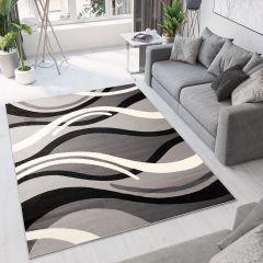 DREAM Modern Area Rug Short Pile Abstract Waves Light Dark Grey