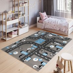 PINKY Kids Area Rug Children Room Play Mat City Life Grey
