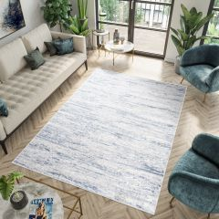 SKY Teppich Kurzflor Creme Blau Streifen Meliert Modern Design