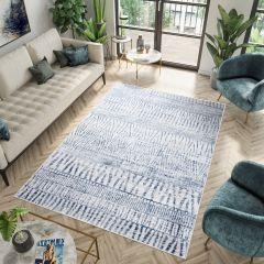 SKY Teppich Kurzflor Modern Streifen Blau Creme Meliert Design