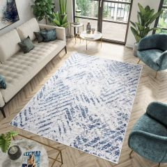 Sky Modern Contemporary Abstract ZigZag Multicolour Blue