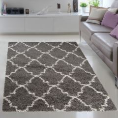 RIO NEW Shaggy Area Rug Modern Fluffy Trellis Dark Grey