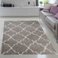 RIO NEW Shaggy Area Rug Modern Fluffy Soft Trellis Grey