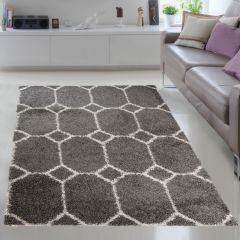 RIO NEW Vloerkleed Grijs Geometrisch Design Shaggy Decoratief