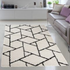 RIO NEW Vloerkleed Creme Wit Geometrisch Abstract Design Sfeervol