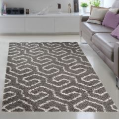 RIO NEW Vloerkleed Grijs Abstract Modern Shaggy Interieur Design