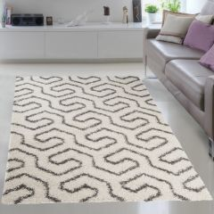 RIO NEW Vloerkleed Beige Abstract Modern Shaggy Interieur Design