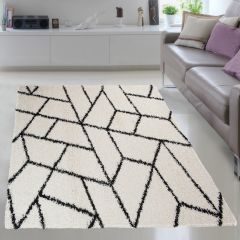 RIO NEW Vloerkleed Wit Zwart Geometrisch Abstract Design Woonsfeer