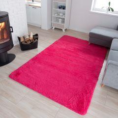 TAPISO Silk Teppich Shaggy Hochflor Modern Einfarbig Pink