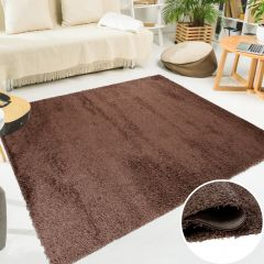 SCANDINAVIA Tapis Design Moderne Unicolore Marron Foncé Shaggy