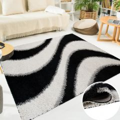 SCANDINAVIA Teppich Shaggy Hochflor Modern Wellen Schwarz Weiß