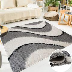 SCANDINAVIA Teppich Shaggy Hochflor Wellen Grau Weiß