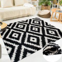 SCANDINAVIA Teppich Shaggy Geometrisch Karo Schwarz Weiß