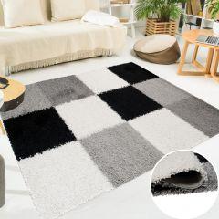 SCANDINAVIA Teppich Shaggy Hochflor Karo Grau Weiß Schwarz