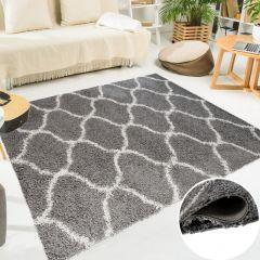 SCANDINAVIA Teppich Shaggy Modern Marokkanisch Gitter Creme Grau