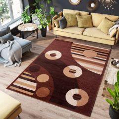 SCARLET Teppich Kurzflor Linien Kreise Modern Braun Beige