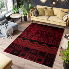 SCARLET Area Rug Modern Abstract Waves Squares Red Black