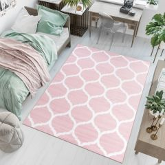 PIMKY Area Rug Living Room Bedroom Modern Round Trellis Pink
