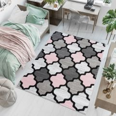Pimky Moroccan Trellis Area Rug Living Room Bedroom Teenager Grey Pink Durable Carpet Size -