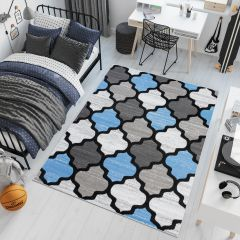 Pimky Moroccan Trellis Area Rug Living Room Bedroom Teenager Grey Blue Durable Carpet Size -