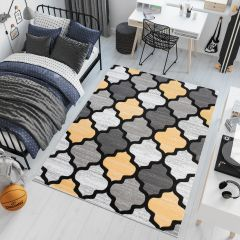 Pimky Moroccan Trellis Area Rug Living Room Bedroom Teenager Grey Yellow Durable Carpet Size -