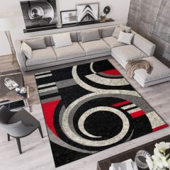 QMEGA Area Rug Modern Abstract Shapes Wave Black Grey Red
