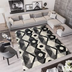 QMEGA Area Rug Modern Abstract Geometric Shape Dark Grey Black