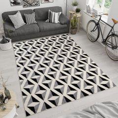 MAROKO Area Rug Modern Short Pile Abstract Geometric Cream Grey