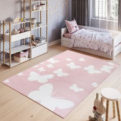 PINKY Modern Area Rug Children Room Short Pile Butterflies Pink