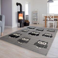 Luxury Teppich Kurzflor Kinderteppich Grau Weiß Schwarz Eulen