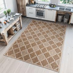 NATURE Teppich Outdoor Sisal Marokkanisch Gitter Braun Modern