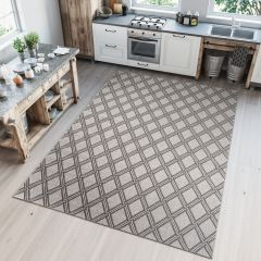 NATURE Indoor Outdoor Diamond Area Rug Kitchen Silver Grey