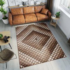 TANGO Teppich Modern Kurzflor Braun Beige Geometrisch Viereck