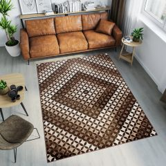 TANGO Teppich Modern Kurzflor Dunkelbraun Geometrisch Viereck