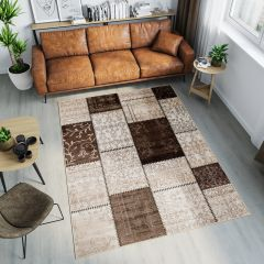 TANGO Area Rug Patchwork Floral Decorative Rectangle Brown
