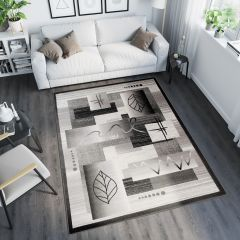 TANGO Vloerkleed Grijs Zwart Abstract Design Modern Interieur