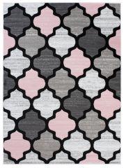 Pimky Moroccan Trellis Area Rug Living Room Bedroom Teenager Grey Pink Durable Carpet Size -