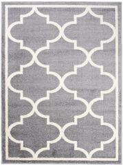 MAROKO Teppich Kurzflor Marokkanisch Großes Gitter Grau Creme