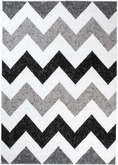 MAYA Vloerkleed Tapijt Grijs Wit Zwart Zigzag Praktisch Modern Trendy