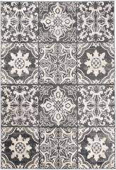 ETHNO Area Rug Mosaic Tiles Aztec Durable Carpet Black Cream