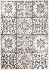 ETHNO Area Rug Short Pile Mosaic Floral Vintage Cream Black
