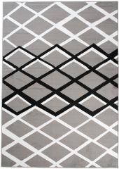 LUXURY Modern Area Rug Short Pile Geometric Lines Grey White